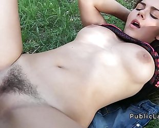 Busty and unshaved italian student bonks in the park pov