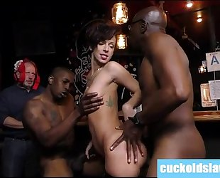 Busty white hotwife violated by two giant dark dicks