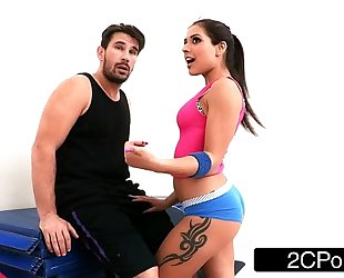 Tiny latin chick bombshell jynx maze screwed up her 1st class yoga wazoo
