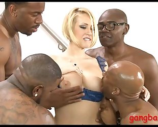 Busty golden-haired doxy gazoo screwed by many large dark dongs