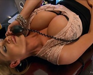Busty kelly madison has sexy phone sex in her office