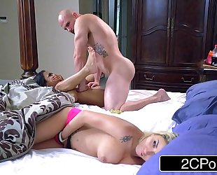 Stepsibling slumber party - golden-haired bimbo marsha may & ebon cutie nicole bexley
