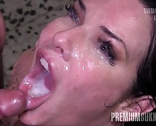 Premium bukkake - veronica avluv swallows 61 biggest mouthful cumshots