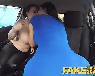 Fake driving school jailbird with large milk cans tastes examiners shaven snatch