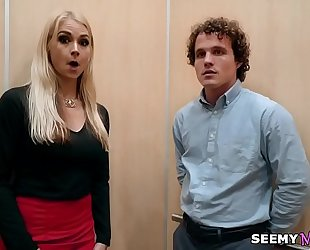 My boss' angry Married slut sarah vandella copulates me in the elevator