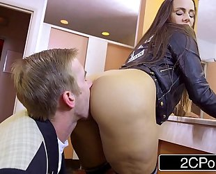 Slutty student mea melone blows her teacher in school crapper