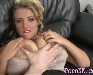 Blonde milf with large natural pantoons and bald cunt fuck