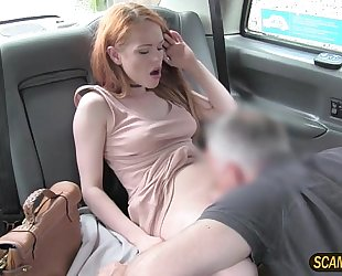 Sweet ella takes a large jock in the taxi and acquires a hawt cum