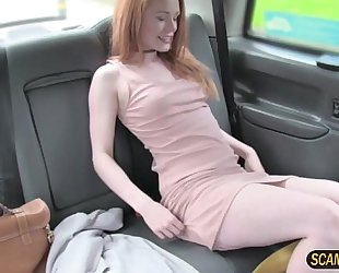 Pretty euro ella bangs inside the taxi by the taxi driver