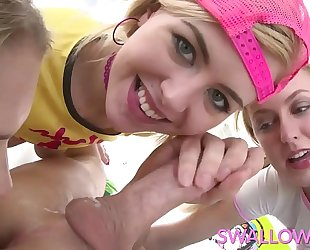 Swallowed summer, alexa and chloe taking turns on plump 10-Pounder