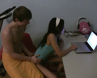 Dark-haired girlfriend gets fucked on the table