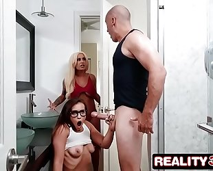 Pervy stud gets fortunate with stepsister and her gf - kelsi monroe, brandi bae