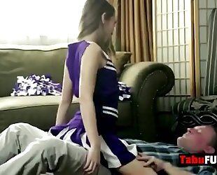 Stepdad rocks breathtaking dark brown cheerleader playgirl hard