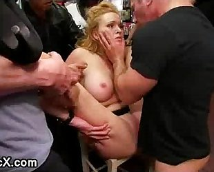 Busty servitude playgirl groped and drilled in public porn store full of strangers