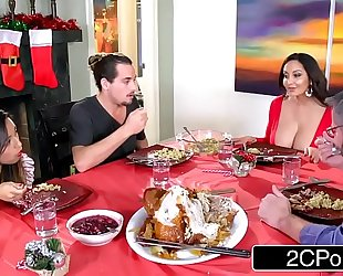 Horny bored mommy ava addams copulates her daughter's boyfriends on christmas